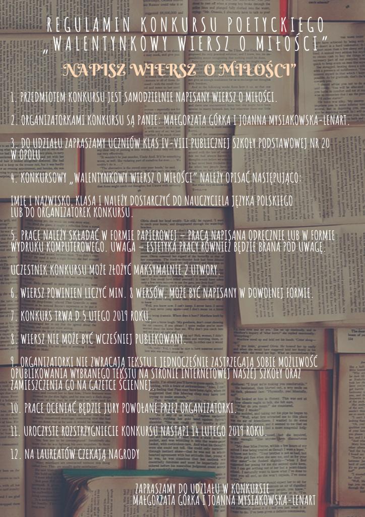 Walentynkowy Wiersz O Miłości Publiczna Szkoła Podstawowa